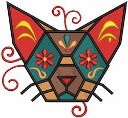 Geometric Cat Head embroidery design