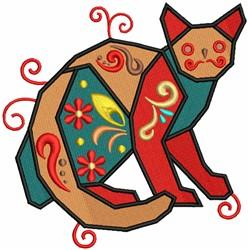 Geometric Cat embroidery design