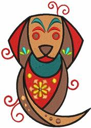 Geometric Dog embroidery design