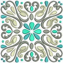 Delightful Deco Squares with Flowers embroidery design