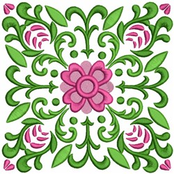 Deco Squares with Floral Pattern embroidery design