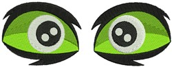 Monster Green Eyes embroidery design