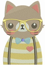 Hipster Cat embroidery design