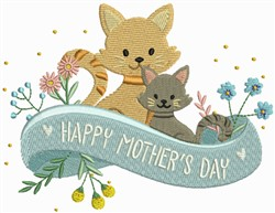 Happy Mothers Day Cats embroidery design