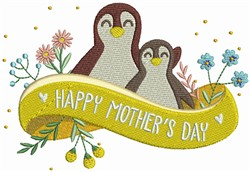 Happy Mothers Day Penguins embroidery design