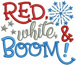 Red White & Boom embroidery design