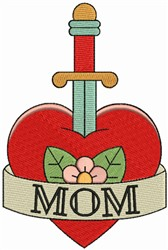 Mom, Sword and Heart embroidery design