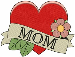 Mom & Heart with Flowers embroidery design