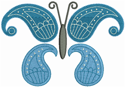 Butterfly Paisley Blue embroidery design
