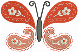 Butterfly Paisley Red embroidery design
