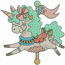 Carousel Unicorn embroidery design