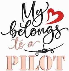 Heart Belongs To Pilot embroidery design