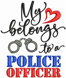 My Heart To Police Officer embroidery design