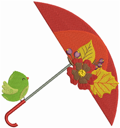 Bird On Umbrella embroidery design