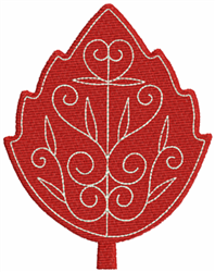 Fall Red Leaf embroidery design