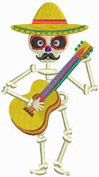 Mariachi Skeleton embroidery design