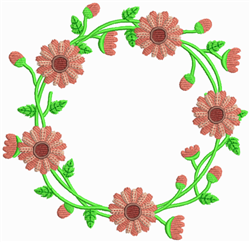 Red Flower Wreath embroidery design