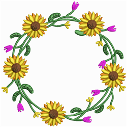 Yellow Sunflower Wreath embroidery design