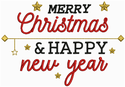 Merry Christmas & Happy New Year embroidery design