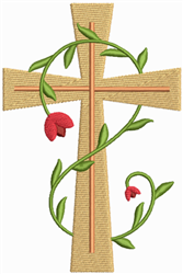 Cross & Vine embroidery design