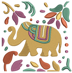 Indian Elephant Quilt Square embroidery design