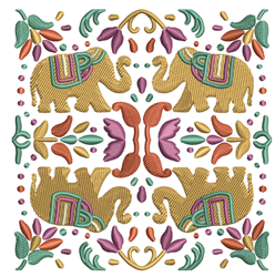 Indian Elephant Quilt Block embroidery design