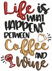 Coffe and Wine embroidery design