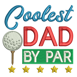 Coolest Dad embroidery design