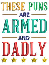 Armed and Dadly embroidery design