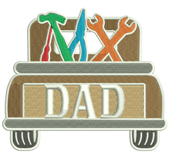 Dad Pickup Truck embroidery design