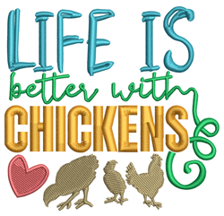 Life With Chickens embroidery design