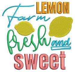Farm Fresh Lemon embroidery design