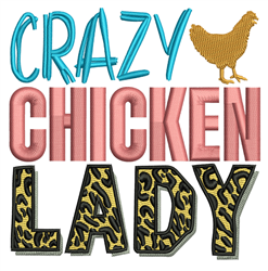Crazy Chicken Lady embroidery design