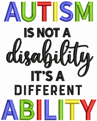 Autism Ability embroidery design