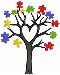Autism Tree embroidery design