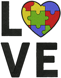 Autism Love embroidery design