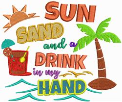 Sun Sand & Drink embroidery design