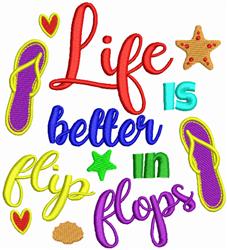 Better In Flip Flops embroidery design