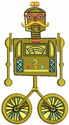 Robot on Wheels embroidery design