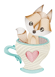 Ripple Fox In Cup embroidery design