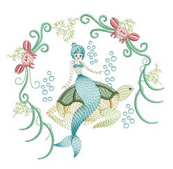 Ripple Mermaid On Turtle embroidery design