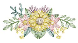 Rippled Floral Swag embroidery design