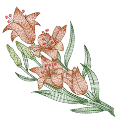 Red Rippled Lily embroidery design
