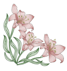 Rippled Lily Corner embroidery design