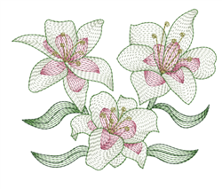 Rippled Lilies embroidery design