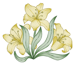 Yellow Rippled Lilies embroidery design