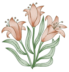 Rippled Lily Bunch embroidery design
