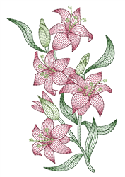 Vertical Rippled Lilies embroidery design