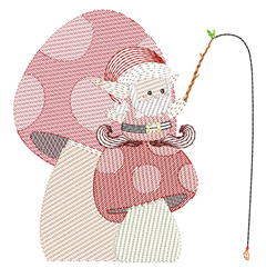 Rippled Garden Gnome Fishing embroidery design