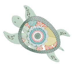 Rippled Floral Turtle embroidery design